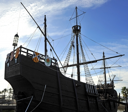 discoverer: The ship Santa Maria of Christopher Columbus, discoverer of America, Palos de la Frontera, Spain
