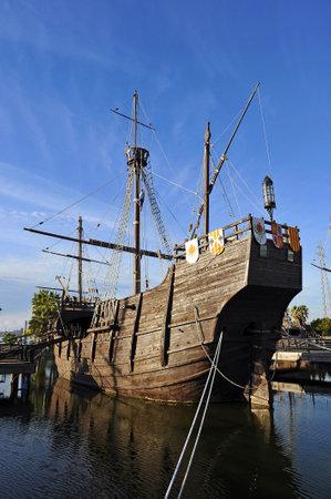 christopher columbus: The ship Santa Maria of Christopher Columbus, discovery of America, Palos de la Frontera, Spain