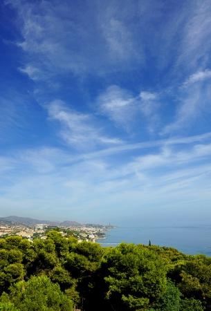 eastward: Panoramic view eastward from Malaga, Gibralfaro Castle Stock Photo