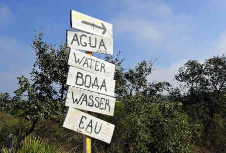Water signal in several languages, Camino de Santiago photo
