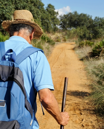 camino de santiago: Pilgrim straw hat walking on the Camino de Santiago Stock Photo