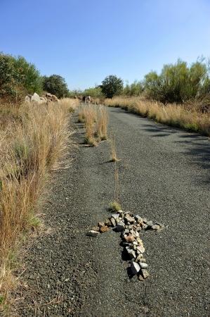 camino de santiago: Stone Arrow on the Camino de Santiago Stock Photo