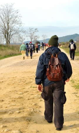 excursions: Group of hikers with backpack, hiking in Andalusia