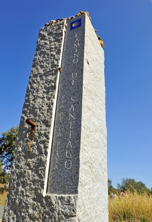 Monolith: Stone monolith on the Camino de Santiago, Spain