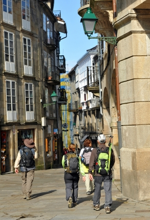 Pilgrims in the streets of Santiago de Compostela, Way of Saint James, Spain