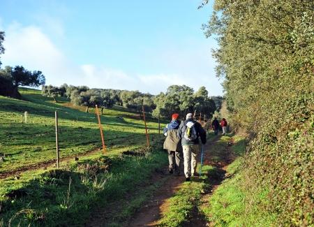 ruta: Couple pilgrims on the Camino de Santiago, Via de la Plata, Spain Stock Photo