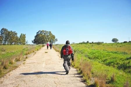 Peregrinos en el Camino de Santiago, Ruta de la Plata, España Foto de archivo