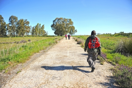 Pilgrims on the Camino de Santiago, Ruta de la Plata, Spain photo