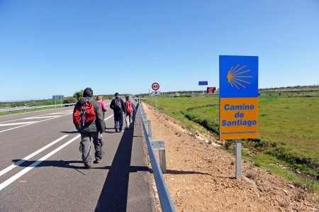 Group of pilgrims on the Camino de Santiago, Spain photo