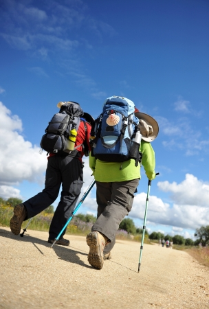 pilgrim journey: Couple pilgrims on the Camino de Santiago, Spain