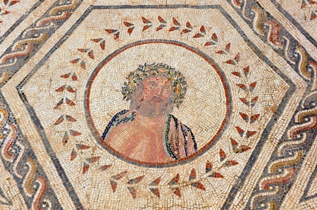 Roman mosaic, Jupiter, Zeus, Roman city of Italica, Spain