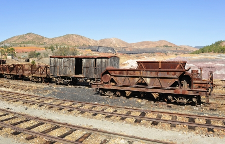 Old railroad cars abandoned mineral transport, Rio Tinto, Spain Stock Photo - 22316330