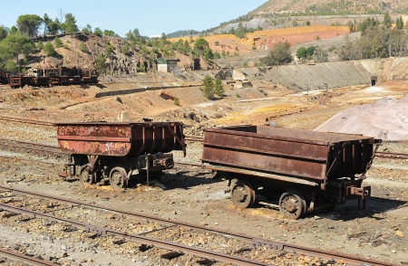 transporting: Old wagons for transporting minerals mine abandoned, Huelva Stock Photo