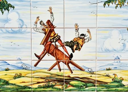 don quichotte: Don Quichotte et Sancho Panza, le carrelage