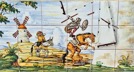 don quixote: Don Quixote and the windmills, tile