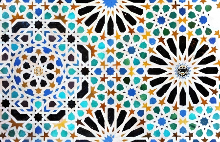 Alhambra palace in Granada, tile mosaic background, Spain