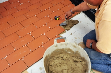 Construction of the floor of the terrace of a house Stock Photo - 22557232