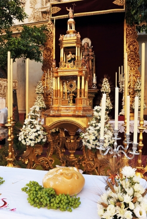 Religious Altar in the street, Tabernacle, Corpus Christi in Seville, Spain Editorial