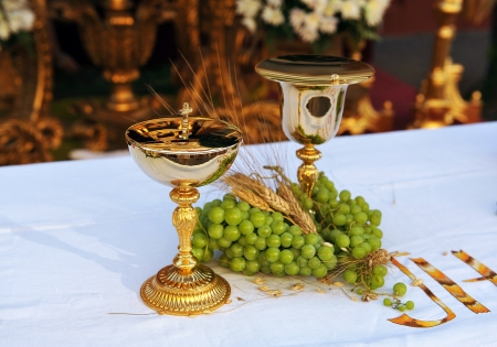 Chalice and ciborium, Religious Altar, Corpus Christi in Seville, Spain