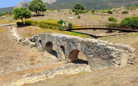 archaeological site: Aqueduct at the archaeological site of Baelo Claudia, Tarifa, Spain Stock Photo