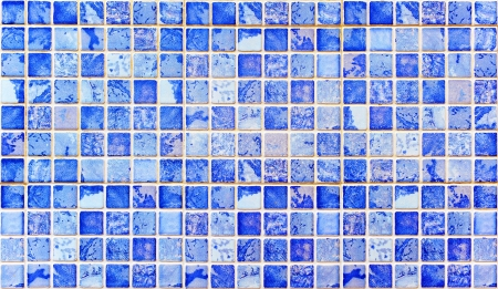 stoneware: Mosaic tiles, blue toned gresite Stock Photo