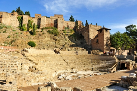 Roman Theatre and Alcazaba, Malaga, Andalucia, Spain Stock Photo