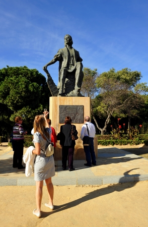 Estatua de Crist�bal Col�n en el Monasterio de la R�bida, Huelva, Espa�a