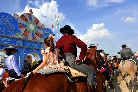 Riders on horseback at the Feria de Sevilla, Spain