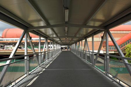 pedestrian walkway: Metal pedestrian walkway, Madrid, Spain Editorial