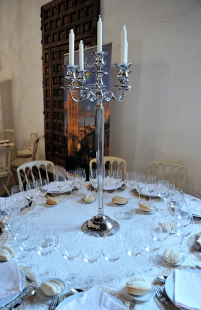 banquet facilities: Round table prepared for a wedding banquet Editorial