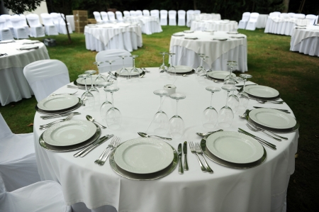 Round tables prepared for a wedding banquet