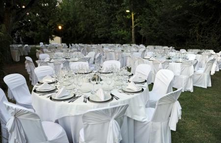 Tables rondes préparés pour un banquet de mariage Banque d'images - 24005144