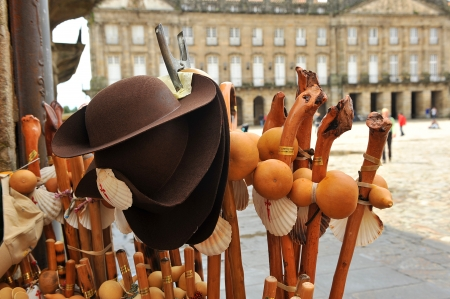 Objects Pilgrim s, Camino de Santiago, Santiago de Compostela Standard-Bild