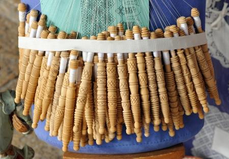 almagro: Textile crafts, bobbin lace, Almagro, La Mancha, Spain Stock Photo