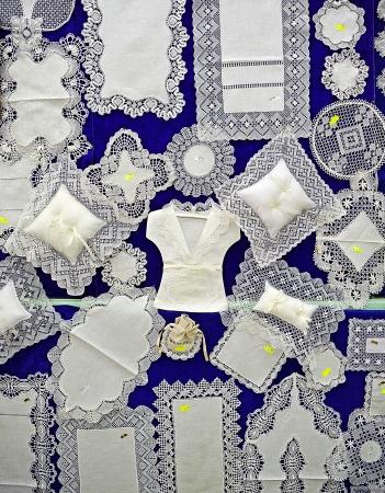almagro: Textile items made with bobbin lace, Almagro, La Mancha, Spain