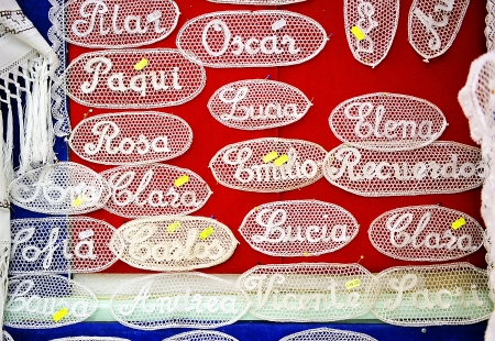 almagro: Textile items made with bobbin lace, Almagro, La Mancha, Spain