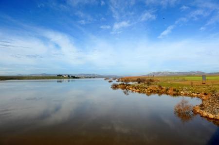 infrastructures: Reservoir Vega del Jabalon, Ciudad Real province, Castilla la Mancha, Spain Stock Photo