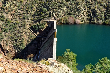 infrastructures: Reservoir Maja Robledo, province of Caceres, Hurdes, Extremadura, Spain