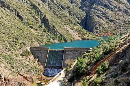 infrastructures: Reservoir Maja Robledo, province of Caceres, Hurdes, Extremadura, Spain
