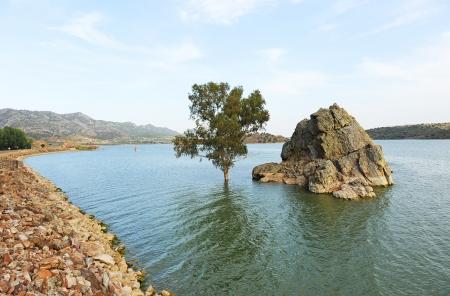 Reservoir Alange, province of Badajoz, Extremadura, Spain