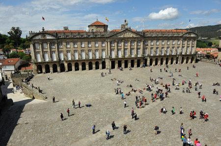 rajoy: Raxoi palace, Obradoiro Square, Pilgrims in Santiago de Compostela, Galicia, Spain