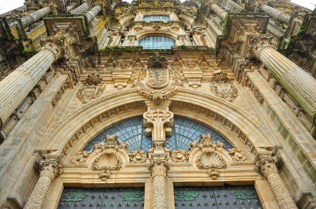 xacobeo: Baroque architecture, front cover of the cathedral of Santiago de Compostela, Galicia, Spain Stock Photo