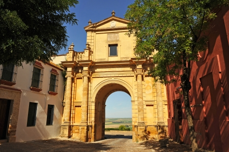 monumental: Cordoba Gate, monumental city, wall of Carmona, Andalusia, Spain Stock Photo