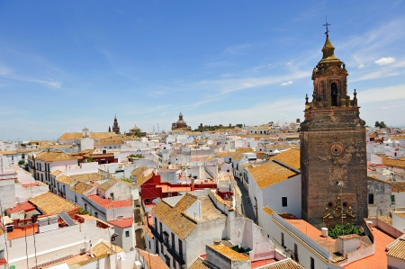 spanish village: Panoramic view, Church of St  Bartholomew, city of Carmona, Seville province, Andalusia, Spain