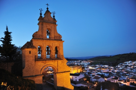 Panoramic view at dusk, village of Aracena, Huelva Province, Andalusia, Spain
