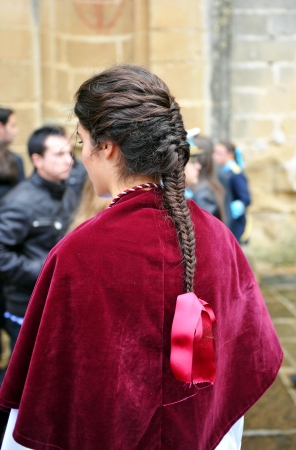 semana: Brunette woman on Holy Week in Andalusia