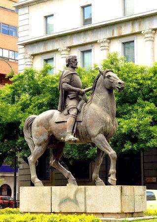 conqueror: Hernan Cortes, conqueror of Mexico, bronze equestrian statue in Caceres, Extremadura, Spain Editorial