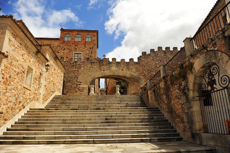 Arco de la Estrella, city wall of Caceres, Extremadura, Spain