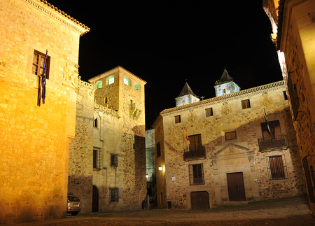 monumental: Golfines Square at night, monumental city of Caceres, Extremadura, Spain Stock Photo