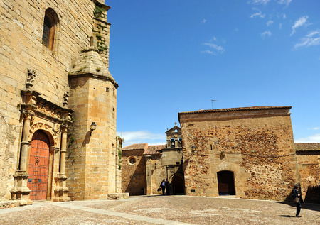monumental: Square of San Mateo, Monumental city of Caceres, Extremadura, Spain Stock Photo